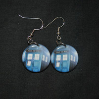 Doctor Who TARDIS  Button Earrings