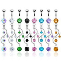 SBJ-0002 Stainless Steel Navel Ring Vine Dangle With CZ; Comes With Free Gift Box:Amazon:Jewelry