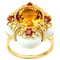 14k Yellow Gold Round Brilliant Cut Citrine Multi-Gemstone Ring, Size 7
