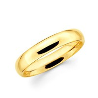 14k Yellow Gold Standard Fit wedding Band Ring Plain style 4 mm