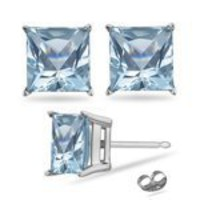 6 mm Princess Cut Aquamarine Stud Earrings in 14K White Gold-Screw Backs
