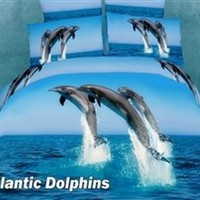 Atlantic Dolphins Bedding Sheets Set | exquisite modern bedding sheets, duvet covers, pillow cases and pillow shams and other modern bedroom furniture