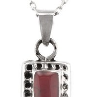 Hammered Sterling Silver and Red Jasper Square Pendant, 16""