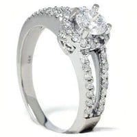 REAL 1.00CT DIAMOND SPILT SHANK WEDDING RING 14K WHITE GOLD