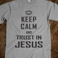 Keep Calm Trust in Jesus-Unisex Dark Ash T-Shirt