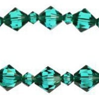 Swarovski Elements 8mm and 4mm Blue Zircon Colored Bicones Stretch Bracelet, 7.75""