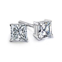 6.00 Ct. K-VS2 Princess Cut Diamond Stud Earrings Platinum Screw Back