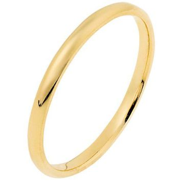14K Yellow Gold, Light Half Round Wedding Band 2MM (sz 15)