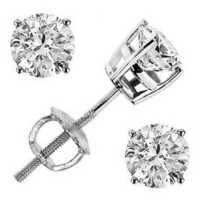 6.00 Ct. K-VS1 Round Cut Diamond Stud Earrings Platinum Screw Back