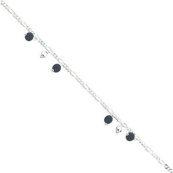 Sterling Silver Onyx Beaded Figaro Chain Anklet 10""
