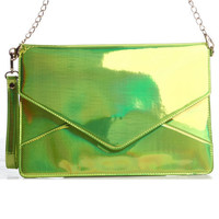 DJPremium.com - Detailed Images of Janelle Iridescent Envelope Bag by DJP Boutique