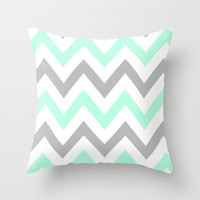MINT & GRAY CHEVRON Throw Pillow by natalie sales