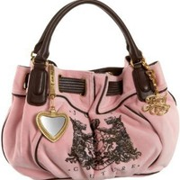 Juicy Couture JC YHRU 2114 700 Pink Velour and Rhinestone Crest Freestyle Satchel