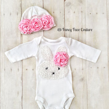 Baby Girl Newborn Take Home Outfit Bunny from