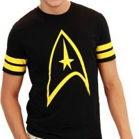 Star Trek Emblem Striped Sleeves Black Mens T-Shirt - Star Trek - | TV Store Online