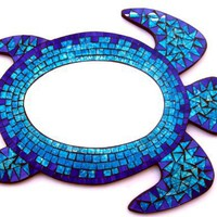 Sea Turtle - Mosaic Mirror Wall Hanging - Spectacular!