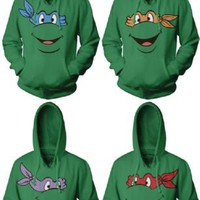 TMNT Teenage Mutant Ninja Turtles Face Green Adult Hoodie Sweatshirt - Teenage Mutant Ninja Turtles - | TV Store Online