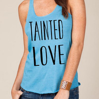 Tainted LOVE Girls Heathered Tank Top Shirt silkscreen screenprint Alternative Apparel