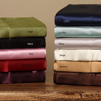 Silky Satin Twin/ Full-size Satin Sheet Set | Overstock.com