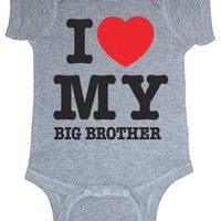 So Relative! I Love My Big Brother (Red Heart) Heather Grey Baby Infant Short Sleeve Bodysuit Creeper (Heather Gray, Newborn)