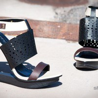 Bumper Debbie-01 Tri Tone Perforated Open Toe Cut Out Wedge (Black) - Shoes 4 U Las Vegas