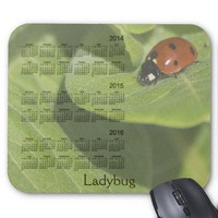 Ladybug 3 Year 2014-2016 Calendar Mousepad from Zazzle.com
