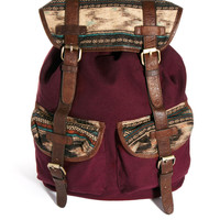 ASOS Canvas Backpack With Aztec Flap