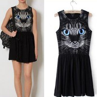 Blue Eyes Cat Dress for Women B9