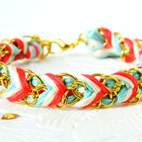 Aqua Mint Coral & Neutral  Chevron Braided Modern by HelloZee