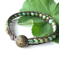 Leather wrap bracelet - green turquoise gemstone beads with leaf button