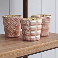 Set of 3 Large or Small Dusty Rose Tealight Holders