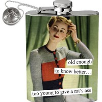 Anne Taintor 58285 2-3/4 W by 4-1/4-Inch H Flask, Rat's Ass