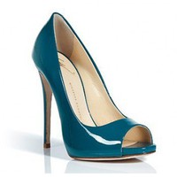 Giuseppe Zanotti teal patent open-toe pump