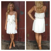 Ivory Scoop Dress with Front Bow