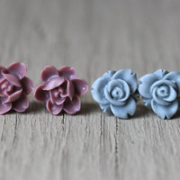 Flower Earring Set : Sky Blue and Burgundy Floral Studs, Set of Two, Fun, Matte, Fake Plugs, Artisan Tree, Bohemian