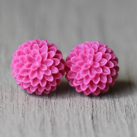 Flower Stud Earrings : Fuchsia Flower Stud Earrings, Sterling Silver Plated Earring Posts, Simple, Fun, PomPom, Matte