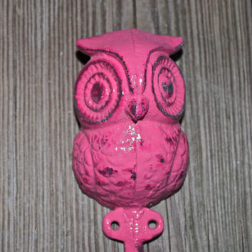 Wall Hook Bright Pink Owl /Ornate /CottageShabby by AquaXpressions