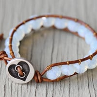Opal Bracelet :  Blue Beaded Bohemian Friendship Cuff Wrap Bracelet, Brushed Silver Heart Button, Adjustable, Natural, EcoFriendly