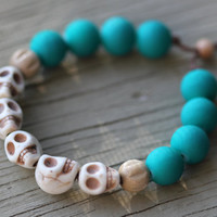 Skull Bracelet: Teal and Wooden Beaded Wrap Bracelet, Ivory Semi Precious Stone Skull Beads, Adjustable, Yoga, Zen