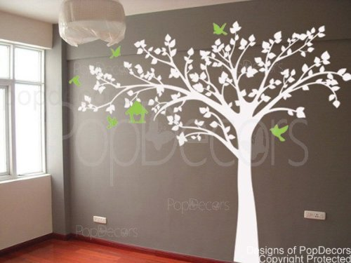 "Authentic Only from PopDecors Big tree with love birds(100"" W) - Wall Decals Art Stickers for Bedroom Home Decor"