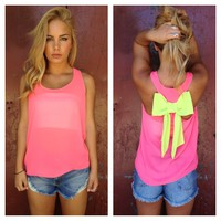 Pink Sheer Sleeveless Top with Neon Green Bow Back