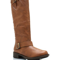 Double-Buckle-Riding-Boots BLACK BLUE COGNAC - GoJane.com
