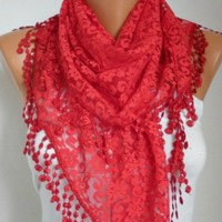 BIG SALE Red Lace Scarf -  Shawl Scarf Women Scarves Cowl Scarf Bridesmaid Gift - fatwoman