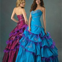 Gorgeous Deep Sweetheart Embroidery Taffeta Ball Gown Quinceanera Dress QD083