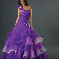 Graceful One-shoulder Flower Ball Gown Floor Length Quinceanera Dress QD075