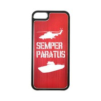 Apple iPhone 5 Hard Back Cover w/ Red Aluminum Back - Coast Guard