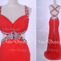Straps  V Neck with Crystal and Beaded Red Chiffon Long Evening Dresses,  Wedding Party Dress, Prom Dresses, Formal Gown