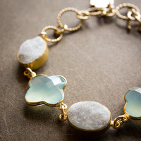Gold White Druzy and Aqua Chalcedony Clover Charm Bracelet - Toggle Clasp - Four Leaf Clover