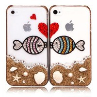 Generic Lovers Kissing Fishes Rhinestone Case For iPhone 5 Color Transparent