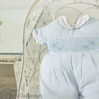 Chubby Thighs Baby Blue Embroidered Pillow by SalvatoCollection